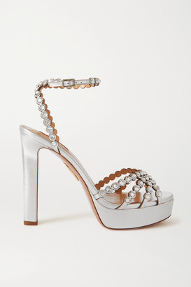 Aquazzura Tequila Plateau 120 Crystal-embellished Metallic Leather Platform Sandals - Silver