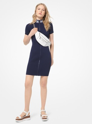 MICHAEL Michael Kors Ribbed Stretch-Viscose Zip-Front Dress