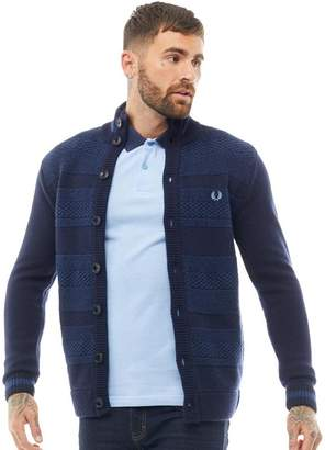 Fred Perry Mens Patchwork Texture Button Cardigan Navy