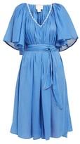 Anaak - Isadora Topstitched Cotton Dress - Womens - Blue