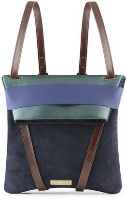 Maria Maleta Backpack Moss Green & Blue Leather