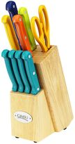 Ginsu 10-pc. Mixed Color Knife Block Set with Teal Steak Knives