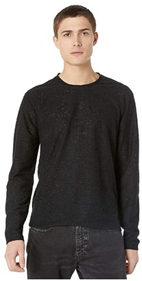 John Varvatos Collection Oversized Fit Long Sleeve Texture Crew K3260W1 (Black) Men's Clothing