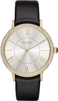 DKNY Willoughby Black Leather And Stainless Steel Watch