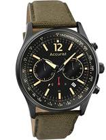 Accurist Men's Quartz Watch with Black Dial Chronograph Display and Olive Green Nylon Strap MS612B.01