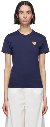 Comme des Garcons Navy and Gold Heart Patch T-Shirt