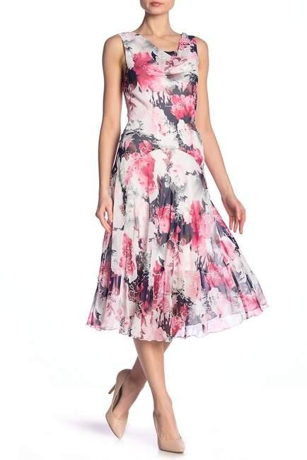 Robbie Bee Floral Cowl Neck Drop Waist Dress
