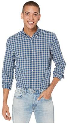 J.Crew Slim Stretch Secret Wash Shirt in Organic Cotton Gingham (Graphite Navy) Men's Clothing