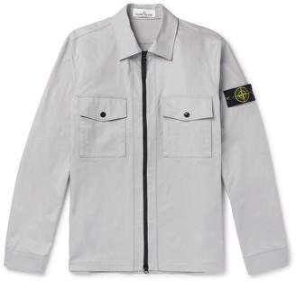 Stone Island Logo-Appliqued Cotton-Blend Twill Zip-Up Overshirt