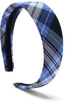 Lands' End Girls Plaid Headband-Clear Blue Plaid