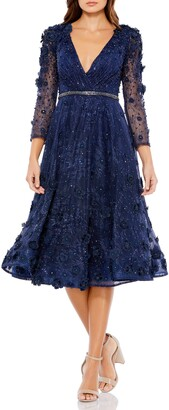 Mac Duggal Floral Applique Fit & Flare Cocktail Dress