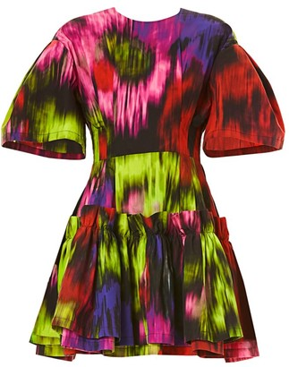 Carolina Herrera Drop-Sleeve Cotton & Silk Dress