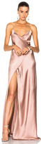Michelle Mason for FWRD Strappy Wrap Gown in Pink.