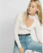 Express Long Sleeve Ribbed Cut-out Choker Sweater
