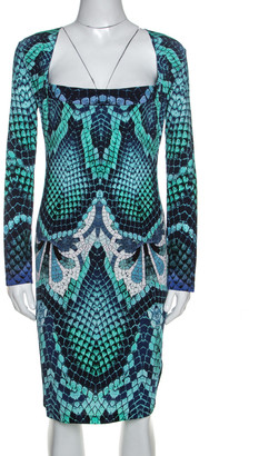 Just Cavalli Blue Snake Print Stretch Knit Long Sleeve Dress L