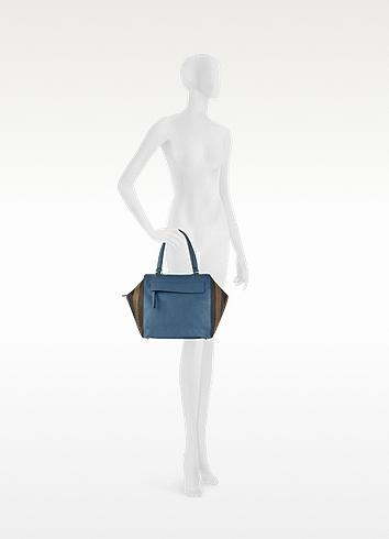 Fendi Pequin-Striped Large Boston Bag