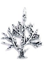 Charm & Chain Lovely Sterling Silver Oxidized Tree of Life Charm , Chain Not Included, Comes in a Free Gift Pouch.