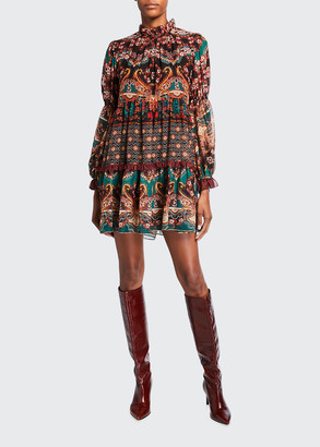 Alice + Olivia Marella Paisley Mock-Neck Blouson-Sleeve Tunic Dress