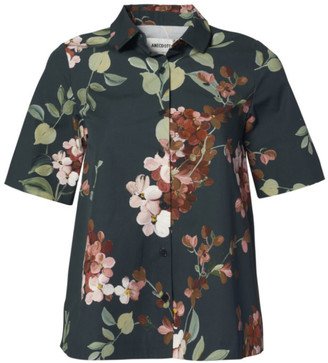 Anecdote - Boule Elegant Flared Cut Floral Print Blouse - 40 - Green/Pink/Wood