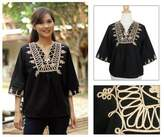 Artisan Crafted Cotton Blouse, 'Night Dance'
