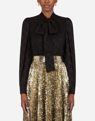 Dolce & Gabbana Logo Shirt In Jacquard With Bow