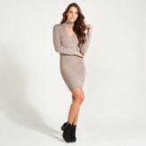 Apricot Stone Choker Neck Bodycon Jumper Dress