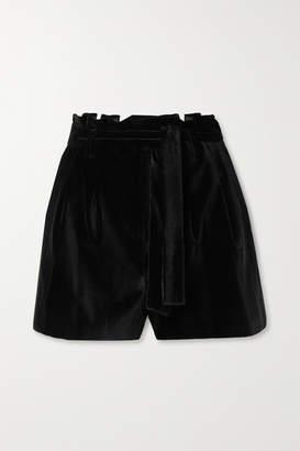 Alice + Olivia Alice Olivia - Laurine Belted Velvet Shorts - Black