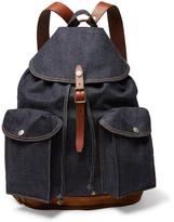 RRL - Riley Leather And Suede-trimmed Denim Backpack - Blue