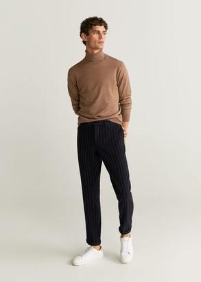 MANGO MAN - 100% merino wool washable sweater medium brown - S - Men