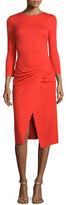 Escada Bracelet-Sleeve Faux-Wrap Dress, Red