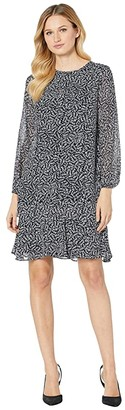 Lauren Ralph Lauren Print Georgette Dress (Lighthouse Navy/Colonial Cream) Women's Clothing