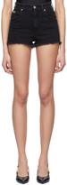 Versace Black Denim Tropical Patch Shorts