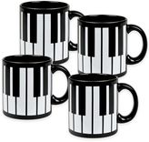 Konitz Piano Keys Mugs in Black (Set of 4)