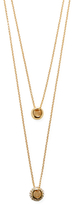 Pave Crystal Button Layered Necklace