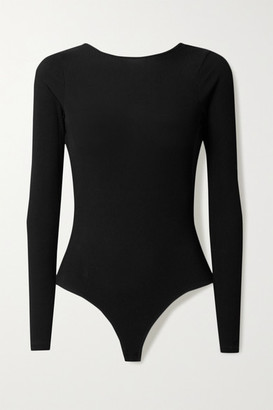 Gold Sign + Net Sustain Open-back Ribbed Stretch-jersey Bodysuit - Black