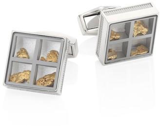 Tateossian Precious Window Diamonds, Gold nuggets & Stainless Steel Cuff Links
