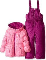 Pink Platinum Platinum Little Girls' Foil Star Printed Snowsuit