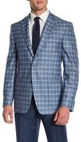 Vince Camuto Light Blue Plaid Two Button Notch Collar Jacket