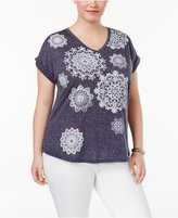 Style and Co Plus Size Medallion-Print Top, Only at Macy's
