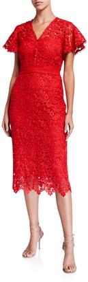 Shoshanna Talor Imperial Lace Short-Sleeve Midi Dress