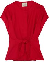 Sea Tie-front Wool-piqué Top - Red