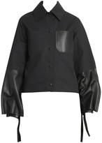 Loewe Cotton & Leather Bell-Sleeve Jacket