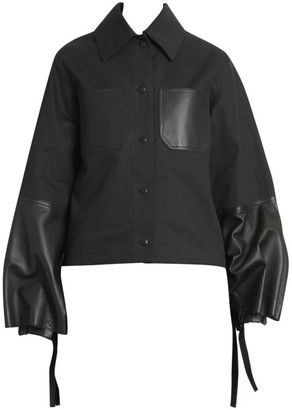 Loewe Cotton & Leather Bell-Sleeve Jacket