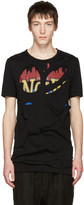 Miharayasuhiro Black Massive Hole and Print T-Shirt