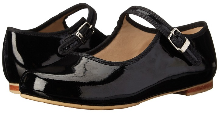 Elephantito MJ W/ Piping FA11 (Toddler/Youth) (Black Patent) - Footwear