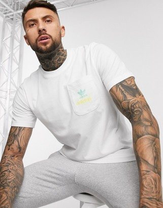 adidas t-shirt with pocket logo in white