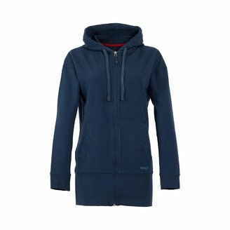 Weird Fish Aphrodite Bamboo Long Line Hoodie Navy Size 12