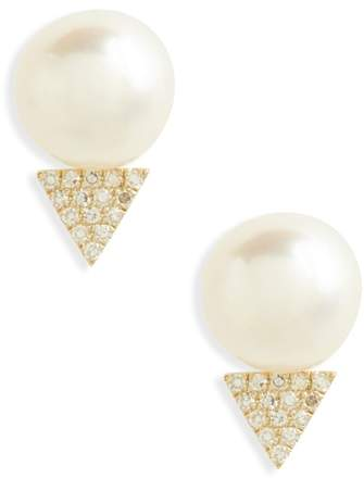 Ef Collection Pearl & Diamond Stud Earrings