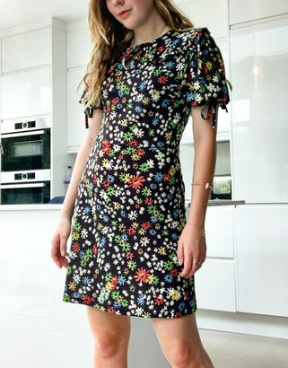 Topshop collared tie sleeve mini dress in black floral