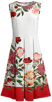 Lily Women's Casual Dresses WHT - White & Red Floral Pleated Fit & Flare Dress - Women & Plus